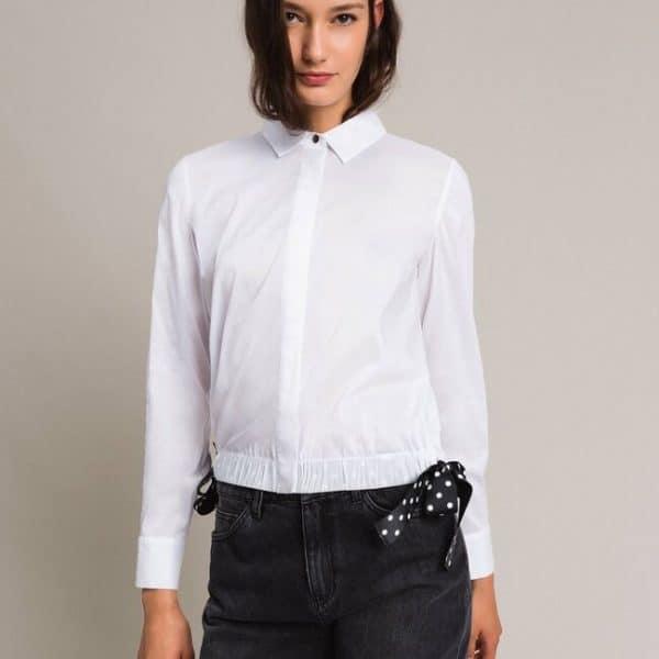 Poplin shirt with drawstring