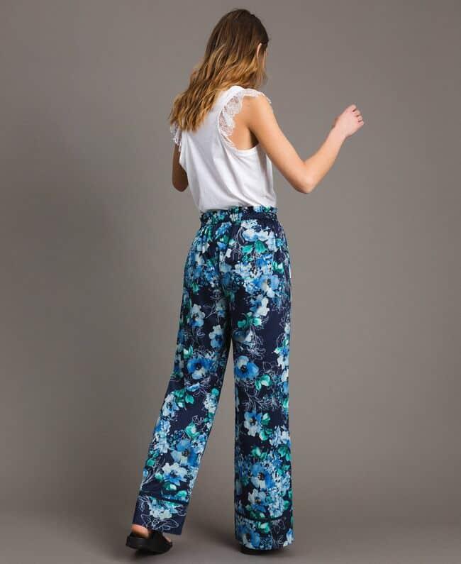 מכנס דק כחול פרחוני