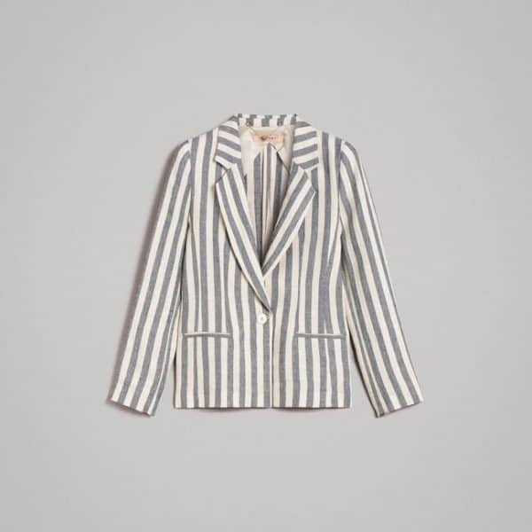 Two-tone striped linen jacket