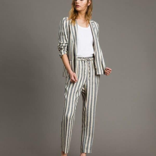 Two-tone striped linen jacket