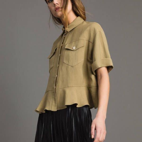 Natural canvas flounce shirt