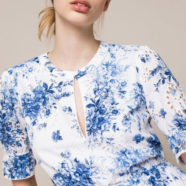 Printed broderie anglaise dress