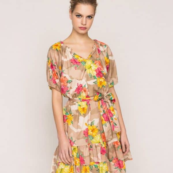 Camouflage and floral print dress
