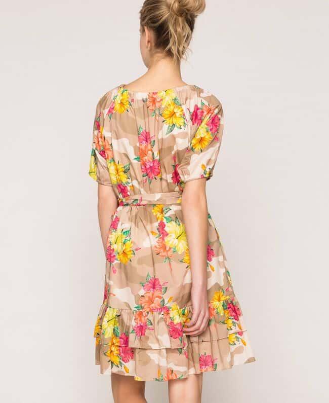 שמלה קצרה פרחונית עם שרוול קצר