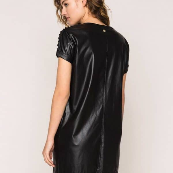 Faux leather dress with embroidery
