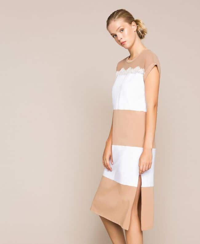 שמלת מיני צמודה פסים רחבים בגווני לבן וקרם