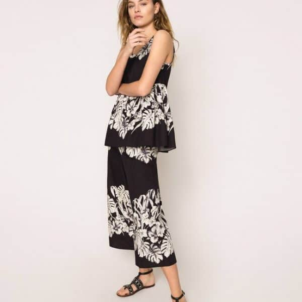 Floral poplin cropped trousers