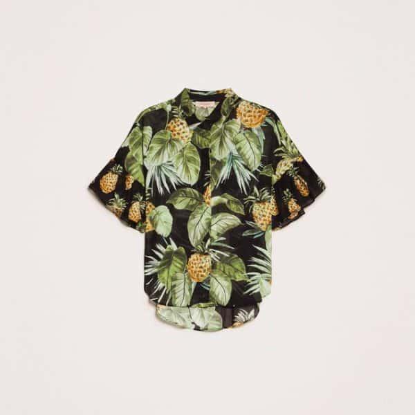 Printed shirt with flounces