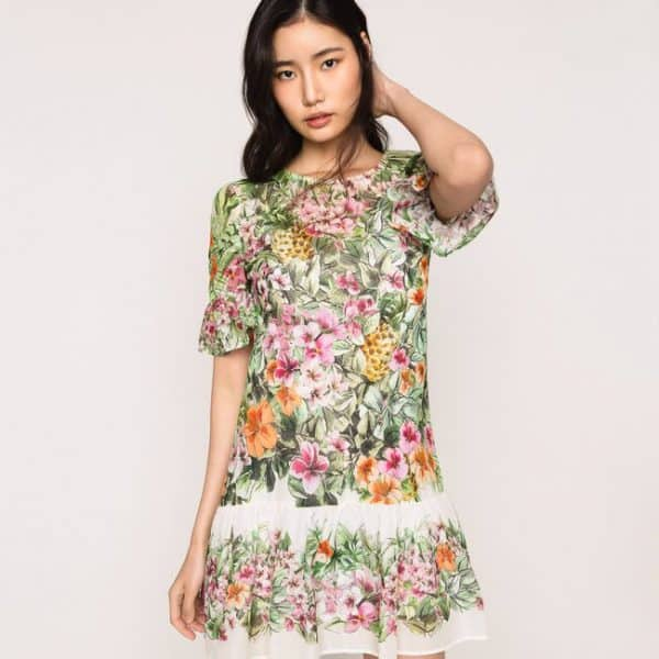 Snow Jungle Flowers Print Dress