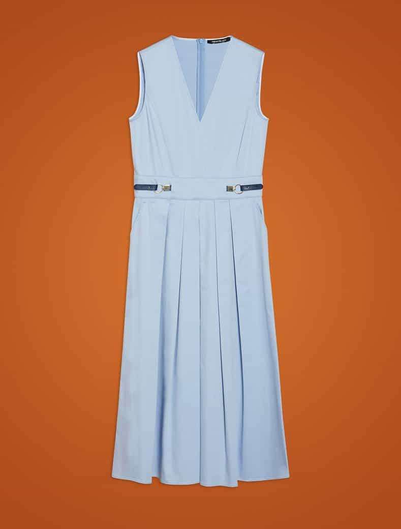 שמלת כותנה כחולה ללא שרוולים