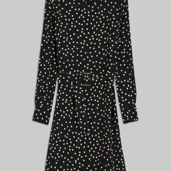 שמלת ויסקוזה שחורה עם נקודות