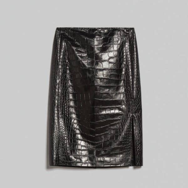 חצאית חצרה דמוי עור קרוקודיל שחורה