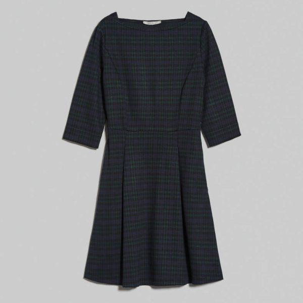 שמלה משובצת עם שרוול