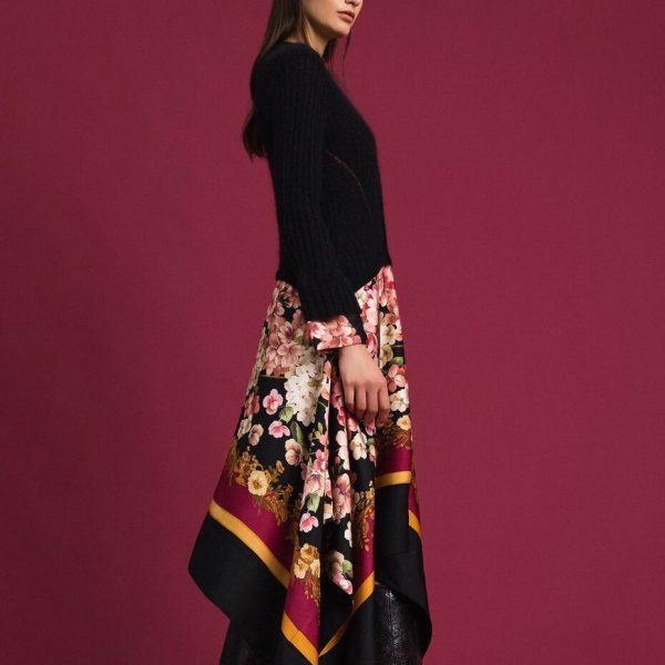 שמלת סריג עם חצאית טוויל פרחונית