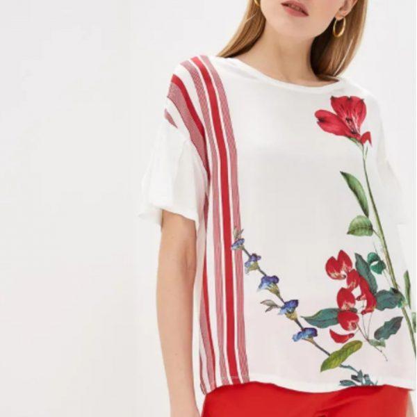 חולצת ויסקוזה עם הדפס פרחוני