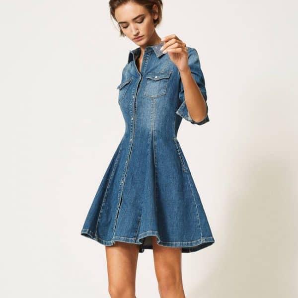 שמלת גינס עם פייטים בצוארון