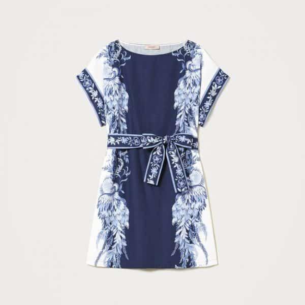 שמלת כותנה עם הדפס פרחוני