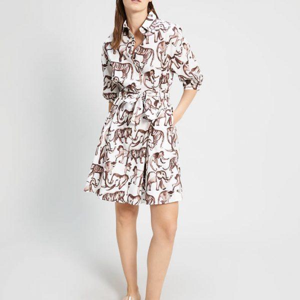 שמלת פופלין עם הדפס