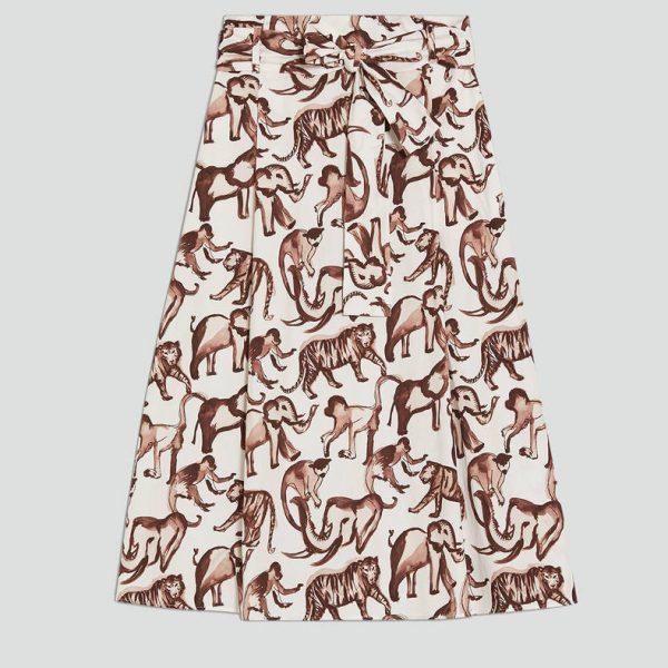 חצאית כותנה עם הדפס