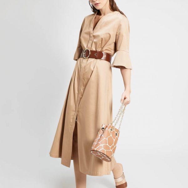 שמלת סאטן פרחונית ארוכה
