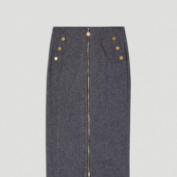 חצאית דנים עם רוכסן קדמי
