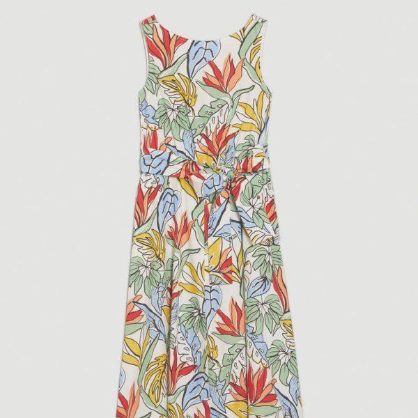 שמלת פופלין כותנה פרחונית