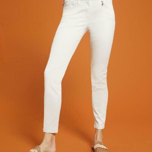 מכנסיים מכותנה בצבע לבן