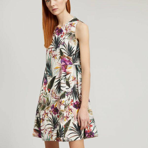 שמלת פשתן פרחונית
