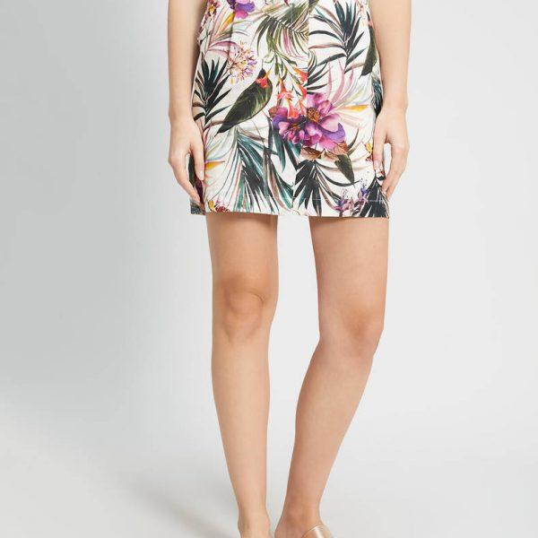 חצאית פשתן פרחונית