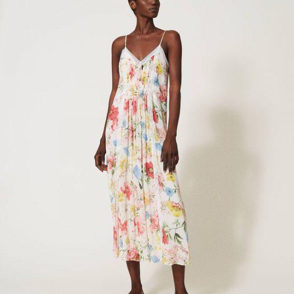 שמלה אביבית פרחונית ארוכה
