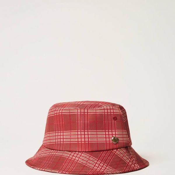 כובע בהדפס משובץ